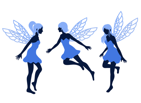 Fairy silhouette blue