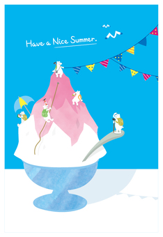 Hand-drawn greeting cards in summer