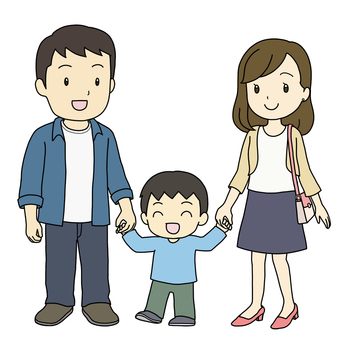 Parents and children connecting hands (boys)