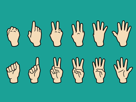 Hand and finger · 1 to 5 · skin color