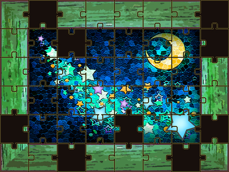 Jigsaw Puzzle Mysterious Starry Sky Wood Frame