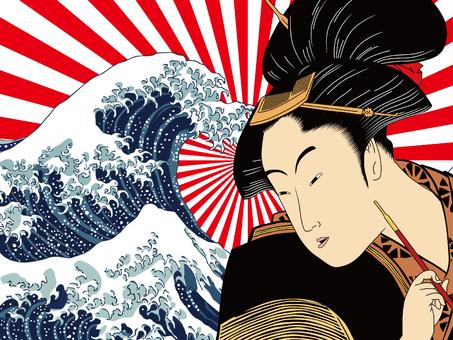 神奈川沖浪裏と和服女性 その8