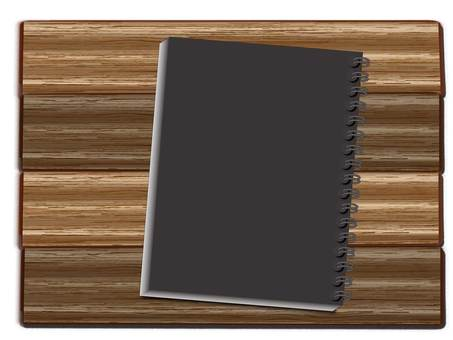 Wood grain table and notebook