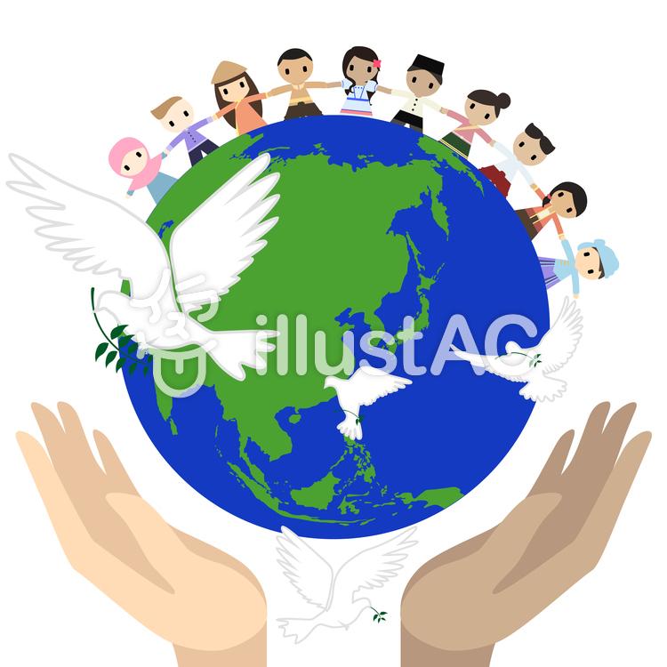 世界平和を連想する鳩と地球イラスト No 1181722無料イラストなら