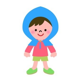 Child wearing disaster prevention hood
