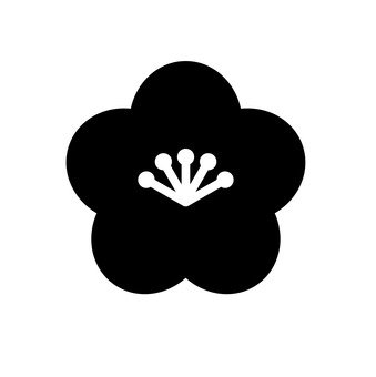 Plum flower silhouette