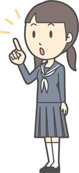 Junior high school sailor woman -220-whole body