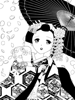 舞妓さん桜吹雪白黒訂正