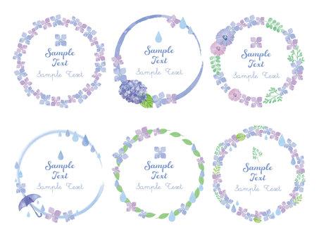紫陽花の円フレーム素材