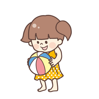 ボールで遊ぶ水着の女の子