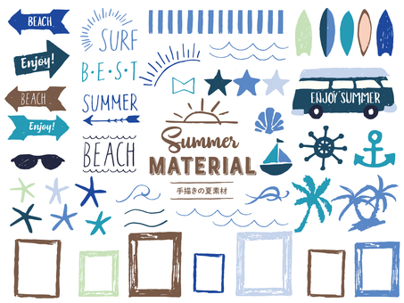 West coast style hand-drawn summer material