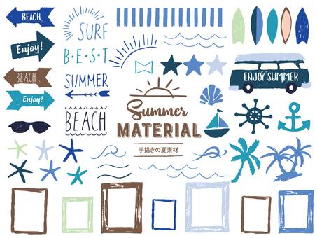 西海岸風格手繪夏季材料