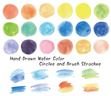 Watercolor material set (circle, brush stroke)