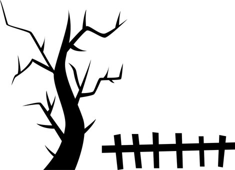Halloween tree and fence