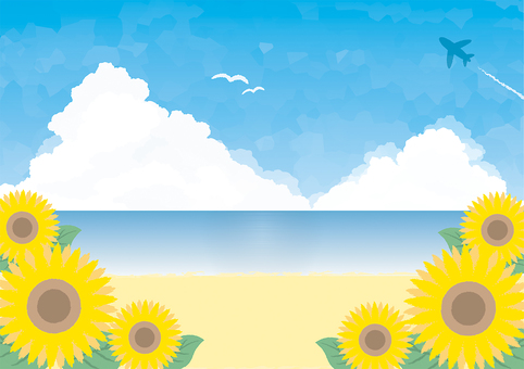 Sunflower, sky and sea