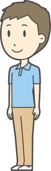 Blue polo shirt male -241 - whole body