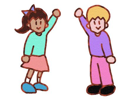 Boy and girl raising hands