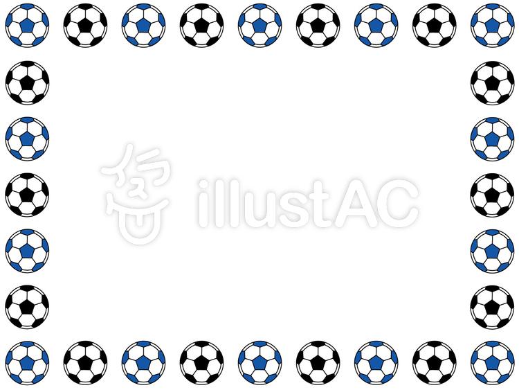青と黒のサッカーボールフレームイラスト No 387758無料イラスト