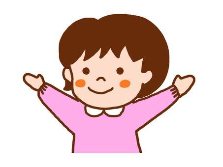 女孩玩banzais舉手幼兒園