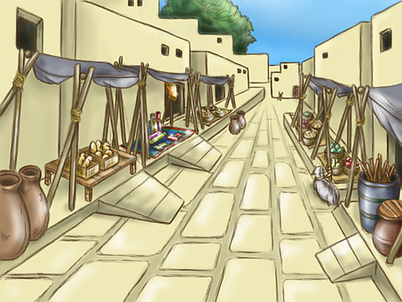 An ancient city background illustration