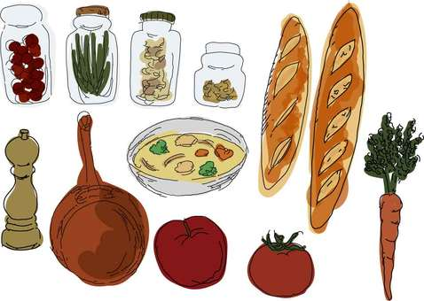 Food set sketch style