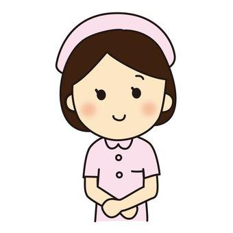 A nurse speaking greetings