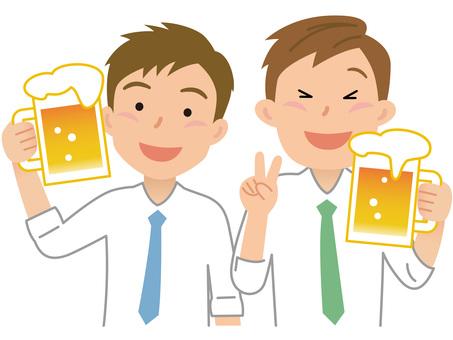 60611. Two men, a beer garden