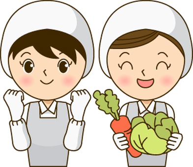 Two cooks women (with guts pose & amp; vegetables)