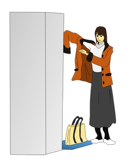 Woman changing clothes in the changing room