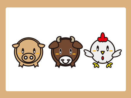 Cow and pig and chicken