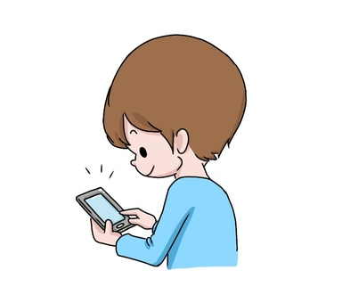 Boy, looking at smartphone