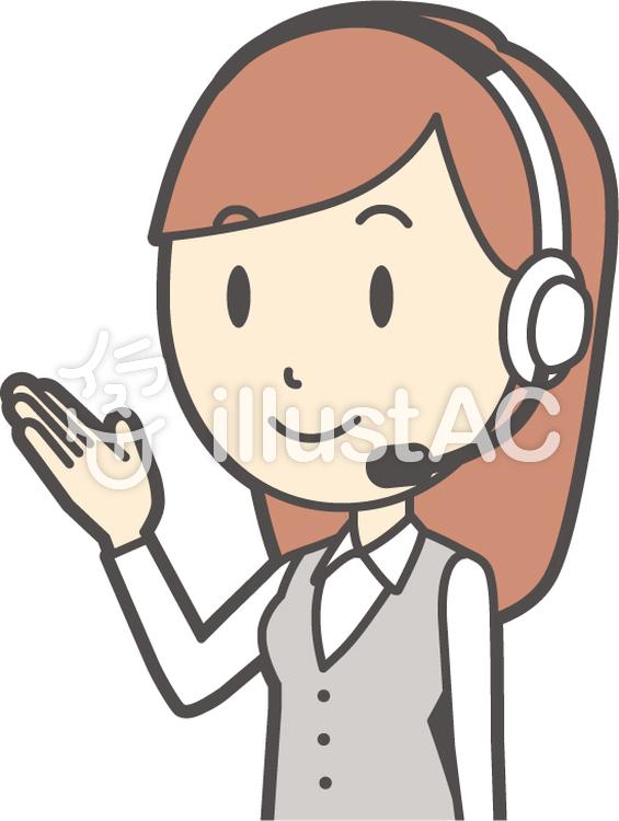 コールセンター女性-128-バストのイラスト