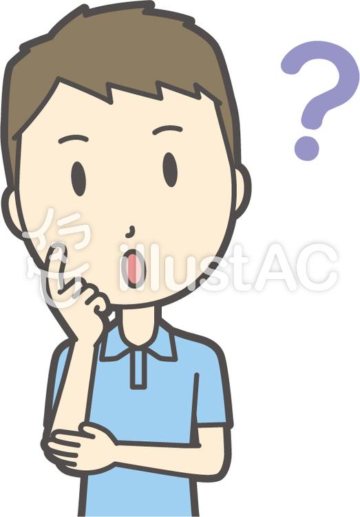 青ポロシャツ男性-090-バストのイラスト