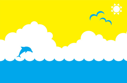 Summer sea background image (Thunderhead, Seagull, Sun)