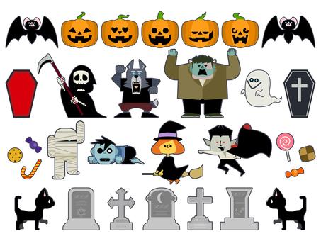 Cute Halloween illustration set 02