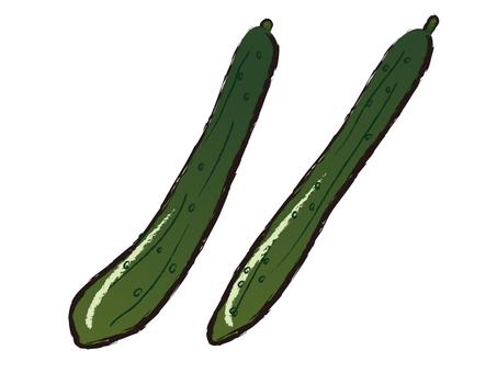 Handwritten Japanese-style material Summer vegetables Cucumber