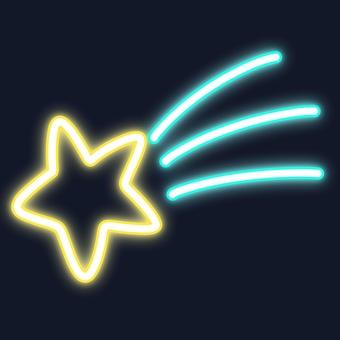 Neon sign wind shooting star / light blue