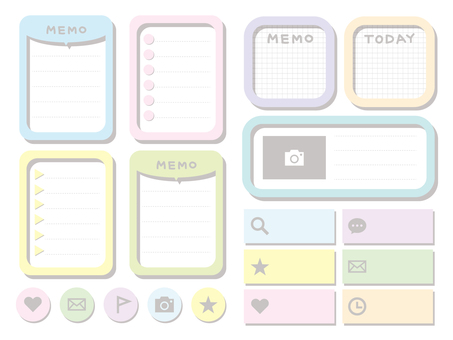 Cute memo pad set (pastel)