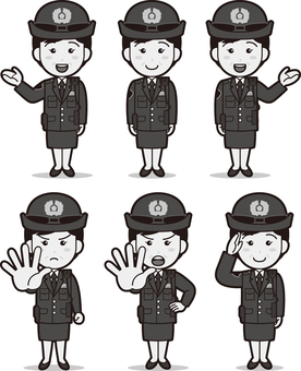 Officer 8 (female / winter clothes) black and white