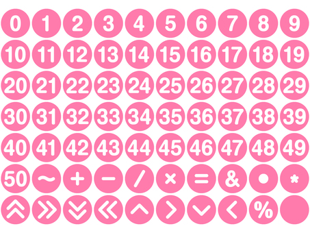 Numerals and symbol sets Round (pink)