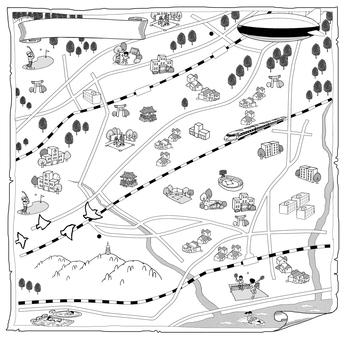 Illustration map Hiratsuka
