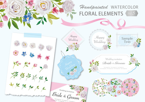 Watercolor flower luxurious frame set 5