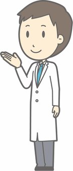 Young doctor - guide left diagonal - whole body