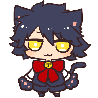 Black cat boy illustration