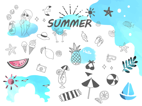 Handwritten summer illustration set 1