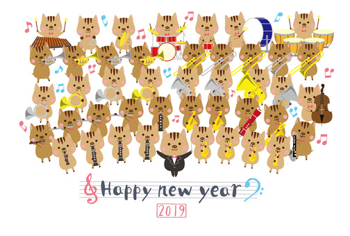 2019 New Year's card template of Nagashita Brass band