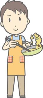 Nursery teacher man - stir fry - whole body
