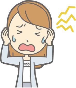 女大學生 - 頭痛 - 半身像