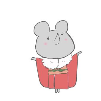A mouse wearing a kimono