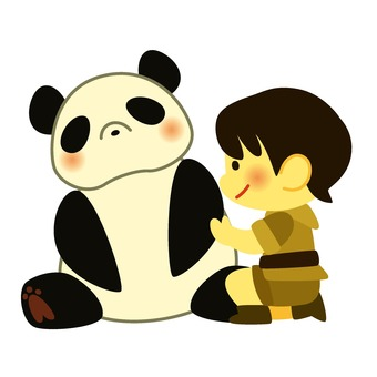 Person examining panda